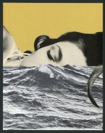 """Giselle Brewton - Sleepwalking Into the Sea, 2016 - paper collage - 10 x 8""""/13.25 x 10.25"""" framed - $225.00"""