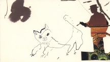 """Paul Moshammer - Cat Painter, 2013 - Ink and collage- 5 x 9"""" /10.75 x 13.75"""" framed - $250.00 SOLD"""