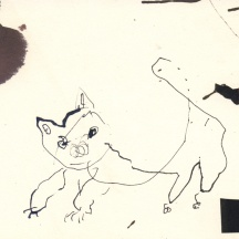 "Paul Moshammer - Cat Painter, 2013 - Ink and collage- 5 x 9"" /10.75 x 13.75"" framed - $250.00 SOLD"
