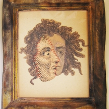"E. Francis Kohler - Frankollage 1823, 1826, 1831, 2017 - paper and sewing thread (collage), wood, acrylic paint, crayon, gloss medium and soil (frame) 10.75 x 8""/14 x 11"" framed - $175.00 SOLD"