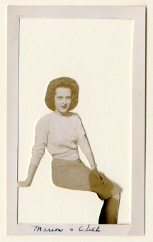 "Jeanne Storck - Marion and Edith, 2016 - cut photograph, 2016 - 4.5 x 3""/ 6 x 5"" plexiglass - $50.00"