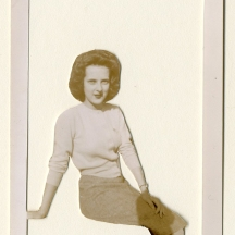 "Jeanne Storck - Marion and Edith, 2016 - cut photograph, 2016 - 4.5 x 3""/ 6 x 5"" plexiglass - $50.00"