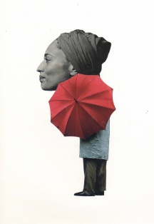 "Paul Moshammer - Rain or Shine, 2013 - collage - 12 x 9"" /13.75 x 10.75"" framed - $300.00"